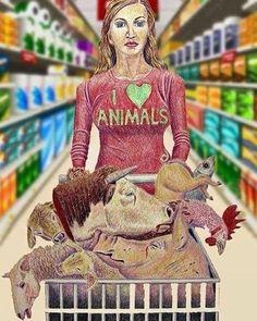 Cognitive dissonance indoctrination or just plain hypocrisy? Vegan Animals, Farm Animals, Animals And Pets, Cute Animals, Vegan Memes, Vegan Quotes, Vegan Facts, Why Vegan, Vegan Vegetarian