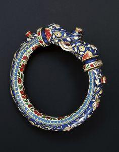 North India ~ probably Jaipur   Gemset gold enamelled bracelet   ca. mid 19th century   3'500£ ~ sold (Oct '09)