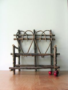 Twig Heart Bench Chair Vintage Wood Doll Furniture Summer Decor, Wooden Sturdy and Adorable Willow Furniture, Fairy Furniture, Miniature Furniture, Doll Furniture, Rustic Furniture, Twig Crafts, Wood Crafts, Wooden Dolls, Vintage Wood