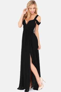Make like a Grecian goddess in the stunning Navy Chiffon Jersey Maxi Dress! Made from slinky black fabric, the jersey dress features a wrap over V neck front with thick off the shoulder straps and a l