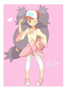 Iris with Ash's hat Iris Pokemon, All Pokemon, Pokemon Fan Art, Cute Pokemon, Pokemon Stuff, Gijinka Pokemon, Chibi, Pokemon Champions, Pokemon People