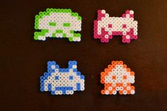 Space Invaders Magnet Set - Pixel Bead Art - FREE SHIPPING. $11.99, via Etsy.