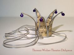 Elegant small Crown with vintage music paper and silver finish (purple bells)- handmade, Crown