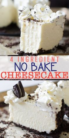 Cheesecake is an easy recipe with a 4 ingredient filling! Easily adaptable, use Oreos, graham crackers or Nutter Butters for the crust! This No Bake Cheesecake is SLICEABLE, fast and fool proof! You'll never want Cheesecake any other way! No Bake Cheesecake Filling, No Bake Oreo Cheesecake, Baked Cheesecake Recipe, Homemade Cheesecake, Cheesecake Bites, Fast And Easy Cheesecake Recipe, Woolworth Cheesecake Recipe, Cheesecake Factory Copycat, Cheesecake Frosting