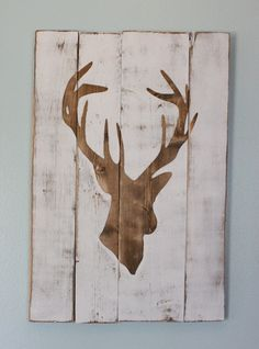 White Distressed Deer Head Silhouette Wood Sign - Art - Home Decor. $60.00, via Etsy.