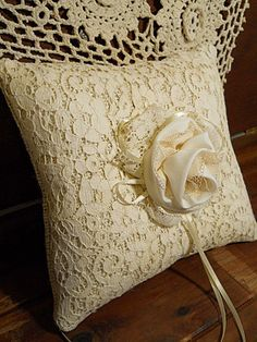 Burlap Ring Bearer Wedding Pillow handmade of burlap by PapernLace