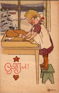 Elsa Beskow was the illustrator that shaped my taste I think. The books my mother had loved as a child in Sweden were passed on to me and I poured over every detail and loved them too. --- I too Elsa Beskow. Merry Christmas, Vintage Christmas Cards, Christmas Images, Winter Christmas, Christmas Time, Vintage Cards, Christmas Baking, Christmas Tables, Xmas