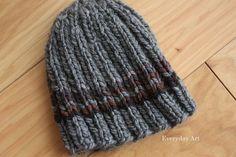Men's Knit Beanie by Everyday Art (bulky 5 wt yarn, sz 10 needles) k2p2, co60