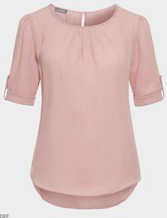 chiffon blouse short sleeve, scoop neck blouse for women, chiffon blouse tops, pleated chiffon blouse, loose chiffon tops Formal Tops For Women, High Waist Rock, Shirt Bluse, Blouses For Women, Ladies Blouses, Ladies Tops, Dress Shirts For Women, Blouse Designs, Chiffon Tops