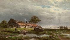 Willem Roelofs - Bedrijvigheid rond een boerenhut