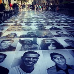 Public #art in #Lyon Use photos of people to be honoured/remembered and make a floor or wall piece.