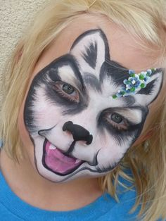 Actual event photos painted by Denise Cold of Painted Party face painting. Face Painting For Boys, Face Painting Designs, Body Painting, Paint Designs, Husky Costume, Husky Faces, Cool Face Paint, Boy Face, A Husky
