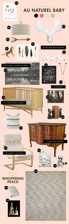 I adore everything about this inspiration board. this is exactly what i want fern's room to look like. maybe when baby #2 comes we'll make fern's room look like this and the new baby can have the current decor.