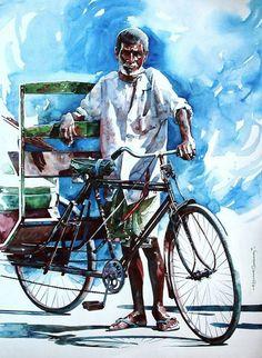 Indian Watercolor Artist Rajkumar Sthabathy 1975 Fine Art and You Painting Digital Art Illustration Portrait Watercolor Paintings Nature, Realistic Paintings, Watercolor Artists, Watercolor Illustration, Watercolor Portraits, Watercolours, Figure Painting, Painting & Drawing, Composition Painting