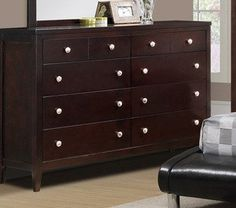 Contemporary Wood Dresser with Storage Drawers by Poundex * Visit the image link more details. (This is an affiliate link) Wood Dresser, Bedroom Dressers, Storage Drawers, Master Bedroom, Contemporary, Bedroom Ideas, Image Link, Furniture, Home Decor