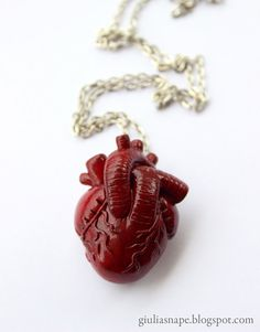 Anatomical heart necklace  anatomy  red  human by GiuliaSnape