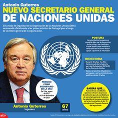 Conoce la trayectoria de Antonio Guterres, el nuevo secretario general de la organización de las Naciones Unidas. #Infographic