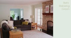 family room with behr relaxing green paint