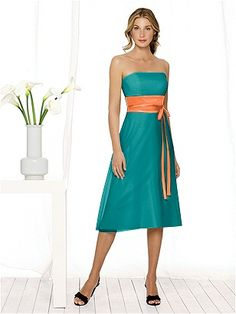 Jade or teal with orange tangerine bridesmaid dress wedding love it