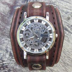 Mens Leather Watch, Steampunk Wristwatches, Unisex Leather Watch, Handcrafted Leather Watch Cuff