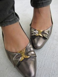 Vintage (&thrifted) bowtie copper flats.