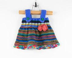 Knitted Baby Girl Dress  Blue and Pink 3  6 by SasasHandcrafts