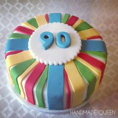 90th Birthday Cake #male #mens #cake #stripes