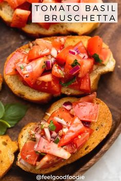 This delicious tomato basil bruschetta is so quick and easy to make and full of vibrant flavors. This vegan appetizer will be a hit at any gathering! Vegan Lunches, Vegan Snacks, Vegan Dinners, Cooking Tomatoes, Easy Family Dinners, Vegan Appetizers, Tomato Basil, Delicious Vegan Recipes, Yummy Eats