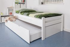 white captains bed with trundle and storage