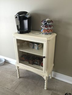 $80 beat up cabinet to French chic coffee bar. Annie Sloan chalk paint.