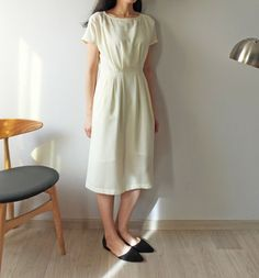 summer linen short sleeves pinch pleated dress by Metaformose
