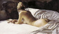Steve Hanks - Comfort in Solitude.  Beautiful piece, imagining that she is contemplating her day before she arises.