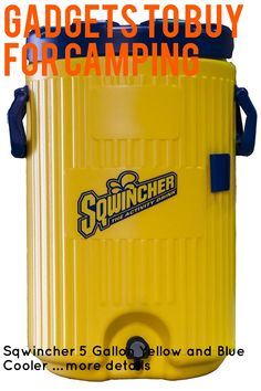Sqwincher 5 Gallon Yellow and Blue Cooler … (This is an affiliate link) #campingkitchen