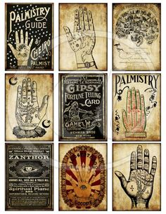 Printable Vintage Palmistry Divination Halloween Tags Digital Collage Sheet scrapbooking gypsy fortune telling atc pocket cards junk journal Halloween: Fortune Teller Palmistry Chart Halloween Tags, Retro Halloween, Halloween Designs, Halloween Crafts, Halloween Decorations, Halloween Photos, Etsy Vintage, Vintage Gypsy, Collage Sheet