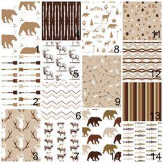 Baby Bedding Sets  Country Western Deer Time - Tan Reddish Brown -Deer Skin, Wood Grain, Deer Heads, Arrows, buffalo plaid Baby Boy Bedding