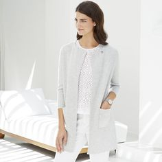 The White Company US. Long Milano Cardigan | The perfect coat-alternative, this stylish knitted cardigan has a chic and minimal feel. Made from a merino-wool mix, this is a great investment piece for your new-season wardrobe. We've added two patch pockets on the front and we love the modern look of the slightly structured shape. Pinning from the UK? -> http://www.thewhitecompany.com/clothing/knitwear/cardigans/long-milano-cardigan--pale-grey-marl/?refCode=LMCWC