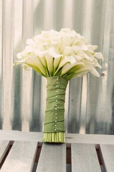 calla lilies wedding flower bouquet, bridal bouquet, wedding flowers, add pic source on comment and we will update it. www.myfloweraffair.com can create this beautiful wedding flower look.