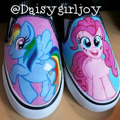 Custom Hand Painted My Little Pony Rainbow Dash Pinkie Pie Fluttershy shoes Painted Canvas Shoes, Hand Painted Shoes, Painted Clothes, My Little Pony Shoes, My Little Pony Dolls, Sharpie Designs, Nail Art For Kids, Crochet Rug Patterns, Shoe Crafts