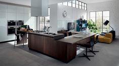 Kitchen and living room with unified design style
