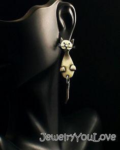 Sterling Silver Cat Front and back Earrings by JYLbyPeekaliu