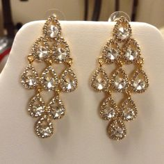 Earrings CZirconia and Crystal 18k Gold Plated High quality 18k Gold Plated Jewelry Earrings