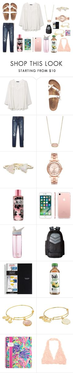 """""""You  Don't worry 'bout fitting in when you custom made"""" by nikeprepster16 on Polyvore featuring Violeta by Mango, Birkenstock, Hollister Co., Kendra Scott, Michael Kors, Apple, CamelBak, NIKE, Mead and Alex and Ani"""