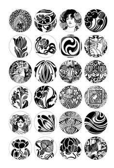 Art Nouveau Black and White circles Printable Jewelry images Digital Collage Sheet Motifs Art Nouveau, Azulejos Art Nouveau, Design Art Nouveau, Motif Art Deco, Art Nouveau Pattern, Bijoux Art Nouveau, Art Nouveau Tattoo, Tatuagem Art Nouveau, Nouveau Logo