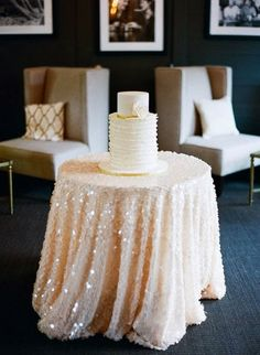 Sequin Tablecloth. Little too fancy for my wedding but omg its pretty :)