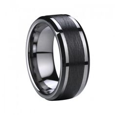 Phoenix Tungsten Ring With Beveled Edges And Black Ceramic Inlay