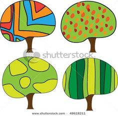 folk art style trees