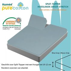 Splittopper Hoeslaken Jersey Katoen - Blauw grijs - (180x200/210/220+10cm)|Homéé