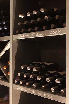 Wine storage: love the black board labels