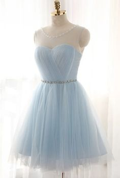 Light blue tulle see-through round neck lace up