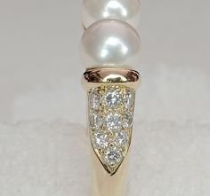 18k TIFFANY Akoya Pearl & Diamond Tension Ring from divinefind on Ruby Lane